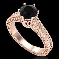 1 CTW Fancy Black Diamond Solitaire Engagement Art Deco Ring 18K Rose Gold - REF-105N5A - 37570