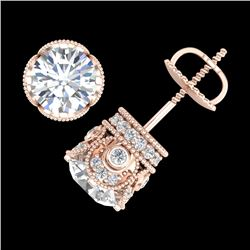 3 CTW VS/SI Diamond Solitaire Art Deco Stud Earrings 18K Rose Gold - REF-586X6R - 36861