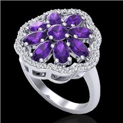 3 CTW Amethyst & VS/SI Diamond Cluster Designer Halo Ring 10K White Gold - REF-52A2V - 20771