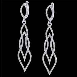 1.90 CTW Micro Pave VS/SI Diamond Certified Earrings 14K White Gold - REF-143Y5X - 20094