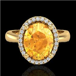 2.50 CTW Citrine And Micro Pave VS/SI Diamond Ring Halo 18K Yellow Gold - REF-50H2M - 21102