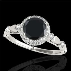 1.25 CTW Certified VS Black Diamond Solitaire Halo Ring 10K White Gold - REF-55A5V - 33619