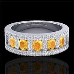 2 CTW Citrine & Micro VS/SI Diamond Certified Inspired Ring 10K White Gold - REF-61V8Y - 20822