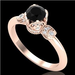 1 CTW Fancy Black Diamond Solitaire Engagement Art Deco Ring 18K Rose Gold - REF-95R5K - 37395