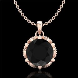 1.36 CTW Fancy Black Diamond Solitaire Art Deco Stud Necklace 18K Rose Gold - REF-85M5F - 38102