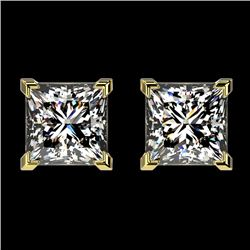 2 CTW Certified VS/SI Quality Princess Diamond Stud Earrings 10K Yellow Gold - REF-585H2M - 33096