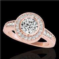 1.50 CTW H-SI/I Certified Diamond Solitaire Halo Ring 10K Rose Gold - REF-170K9W - 33892