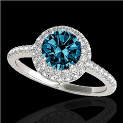 1.60 CTW SI Certified Fancy Blue Diamond Solitaire Halo Ring 10K White Gold - REF-169H3M - 33675