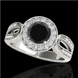 1.40 CTW Certified VS Black Diamond Solitaire Halo Ring 10K White Gold - REF-76W9H - 34561