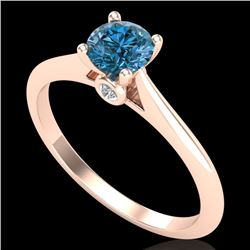 0.56 CTW Fancy Intense Blue Diamond Solitaire Art Deco Ring 18K Rose Gold - REF-81N8A - 38189