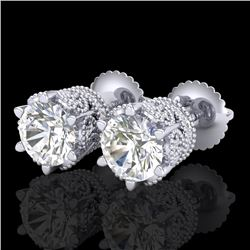2.04 CTW VS/SI Diamond Solitaire Art Deco Stud Earrings 18K White Gold - REF-361W8H - 37241