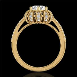 1.65 CTW VS/SI Diamond Solitaire Art Deco Micro Pave Ring 18K Yellow Gold - REF-427M3F - 36994