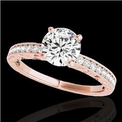 1.18 CTW H-SI/I Certified Diamond Solitaire Antique Ring 10K Rose Gold - REF-174K5W - 34604
