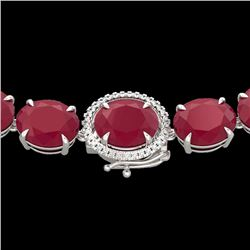 170 CTW Ruby & VS/SI Diamond Halo Micro Eternity Necklace 14K White Gold - REF-993N8A - 22312