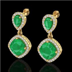 7 CTW Emerald & Micro Pave VS/SI Diamond Earrings Designer Halo 10K Yellow Gold - REF-107H3M - 20206