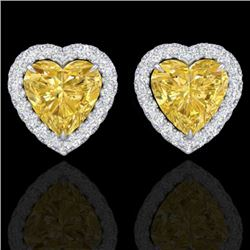 2 CTW Citrine & Micro Pave VS/SI Diamond Earrings Heart Halo 14K White Gold - REF-42X4R - 21202