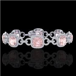 22 CTW Morganite & Micro VS/SI Diamond Certified Bracelet 14K White Gold - REF-575H5M - 23026