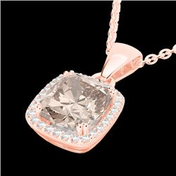 3 CTW Morganite & Micro VS/SI Diamond Pave Halo Necklace 14K Rose Gold - REF-68F2N - 22827