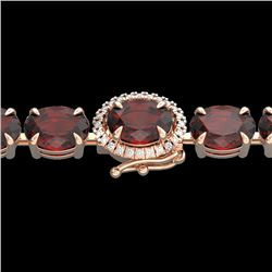 32 CTW Garnet & VS/SI Diamond Eternity Tennis Micro Halo Bracelet 14K Rose Gold - REF-119M5F - 23426