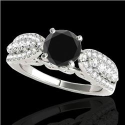 1.70 CTW Certified VS Black Diamond Solitaire Ring 10K White Gold - REF-89M6F - 35262