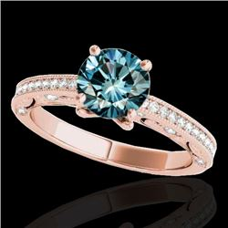 1.25 CTW SI Certified Blue Diamond Solitaire Antique Ring 10K Rose Gold - REF-163X6R - 34744