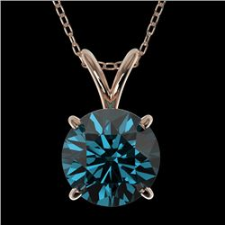 1.50 CTW Certified Intense Blue SI Diamond Solitaire Necklace 10K Rose Gold - REF-202M5F - 33227