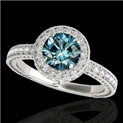 1.51 CTW SI Certified Fancy Blue Diamond Solitaire Halo Ring 10K White Gold - REF-180F2N - 34306
