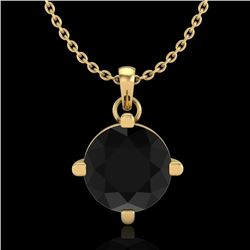 1 CTW Fancy Black Diamond Solitaire Art Deco Stud Necklace 18K Yellow Gold - REF-48W2H - 38075