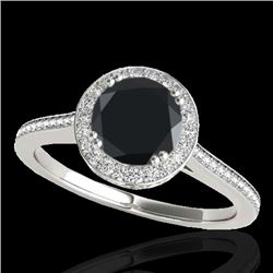 1.55 CTW Certified VS Black Diamond Solitaire Halo Ring 10K White Gold - REF-90A2V - 33529