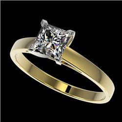1 CTW Certified VS/SI Quality Princess Diamond Engagement Ring 10K Yellow Gold - REF-297K2W - 32996