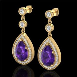 4.50 CTW Amethyst & Micro Pave VS/SI Diamond Certified Earrings 18K Yellow Gold - REF-67A5V - 23111