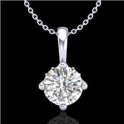 0.82 CTW VS/SI Diamond Solitaire Art Deco Stud Necklace 18K White Gold - REF-180K2W - 37025