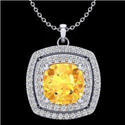 1.77 CTW Citrine & Micro Pave VS/SI Diamond Halo Necklace 18K White Gold - REF-63W5H - 20452