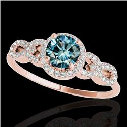 1.33 CTW SI Certified Fancy Blue Diamond Solitaire Ring 10K Rose Gold - REF-161V8Y - 35319