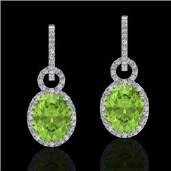 6 CTW Peridot & Micro Pave Solitaire Halo VS/SI Diamond Earrings 14K White Gold - REF-104W4H - 22741