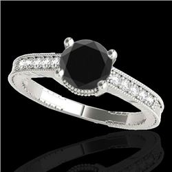 1.45 CTW Certified VS Black Diamond Solitaire Antique Ring 10K White Gold - REF-52W7H - 34759