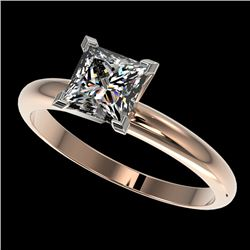 1.25 CTW Certified VS/SI Quality Princess Diamond Solitaire Ring 10K Rose Gold - REF-372V3Y - 32917