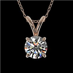 0.53 CTW Certified H-SI/I Quality Diamond Solitaire Necklace 10K Rose Gold - REF-51N2A - 36721