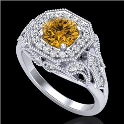 1.75 CTW Intense Fancy Yellow Diamond Engagement Art Deco Ring 18K White Gold - REF-236W4H - 38281