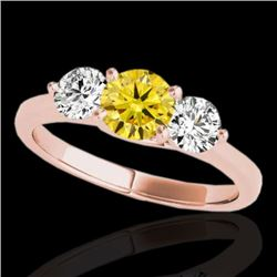 3 CTW Certified SI/I Fancy Intense Yellow Diamond 3 Stone Solitaire Ring 10K Rose Gold - REF-680W9H