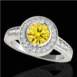 2 CTW Certified SI/I Fancy Intense Yellow Diamond Solitaire Halo Ring 10K White Gold - REF-317F3N -