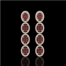 6.2 CTW Garnet & Diamond Earrings Rose Gold 10K Rose Gold - REF-102N5A - 40941