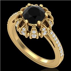 1.65 CTW Fancy Black Diamond Engagement Art Deco Micro Pave Ring 18K Yellow Gold - REF-132V7Y - 3772