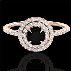 1 CTW Micro Pave VS/SI Diamond Solitaire Ring Double Halo 14K Rose Gold - REF-63F5N - 21608