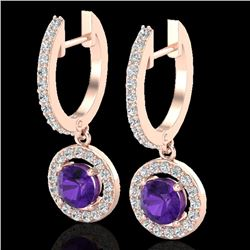 1.75 CTW Amethyst & Micro Pave Halo VS/SI Diamond Earrings 14K Rose Gold - REF-76W4H - 23246