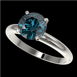 2 CTW Certified Intense Blue SI Diamond Solitaire Engagement Ring 10K White Gold - REF-417X6R - 3293