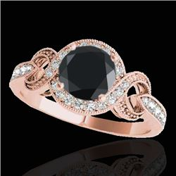 1.33 CTW Certified VS Black Diamond Solitaire Halo Ring 10K Rose Gold - REF-60W4H - 33809
