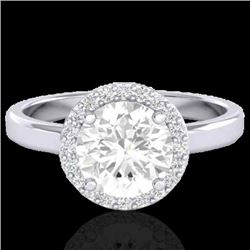 1.75 CTW Halo VS/SI Diamond Certified Micro Pave Ring Solitaire 18K White Gold - REF-489F5N - 21639