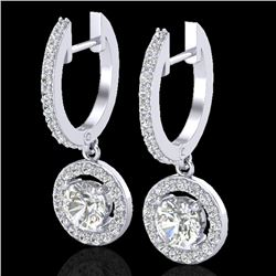 1.75 CTW Micro Pave Halo VS/SI Diamond Certified Earrings 18K White Gold - REF-219N8A - 23253