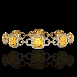 30 CTW Citrine & Micro VS/SI Diamond Certified Bracelet 14K Yellow Gold - REF-368F9N - 23020